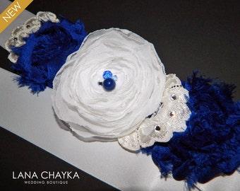 ON SALE Flower Girl White Royal Blue Sash Dark Blue White Satin Belt Cobalt Blue White Sash Blue White Floral Dress Sash Flower Girl Sashes
