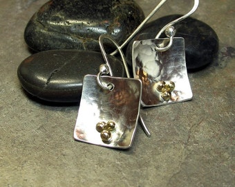 Hammered Earrings, Sterling Silver with solid 14kt gold balls - Three Golden Grains