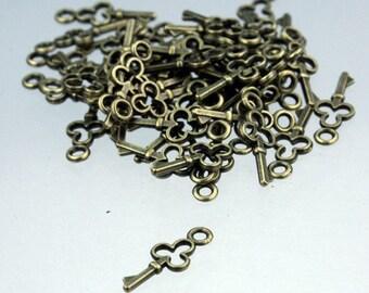 50 pcs of Antiqued Brass finished key charm drop  16.8x6.8mm