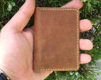 Slim leather card wallet, mens wallet slim, front pocket wallet, minimal card wallet, leather card wallet, bifold leather card holder, EDC