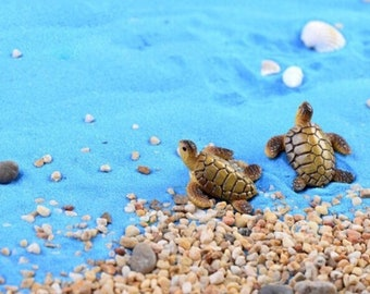 2 MINIATURE FAIRY GARDEN Sea Turtles