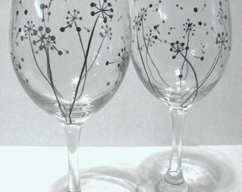 Hand Painted Wine Glasses - Dandelion