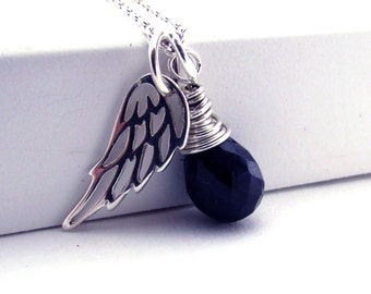 Guardian angel necklace, sapphire pendant with angel wing, September birthstone necklace , memorial jewelry, sterling silver