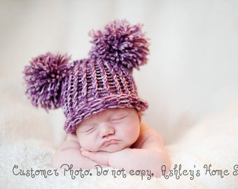Baby Ear Hat - Purple Pom Pom Hat - Knit Hat - Photography Prop