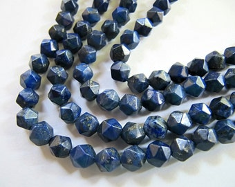 6mm Lapis Lazuli Stone Beads in Dark Blue with Gold Pyrite, Round Polygon Beads, Faceted Gemstone, Dyed, 1 Half Strand 7.5in, 31 Beads