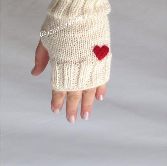 Gloves Knit Gloves Fingerless Gloves Heart Gloves Arm