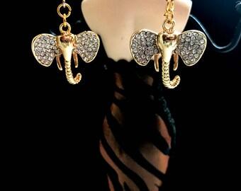 Elephant earrings, Rhinestone Tiny Elephant Earrings. Elephant Earrings, Elephant Jewelry, Animal Jewelry, Dangle Rhinestone earrings -B002