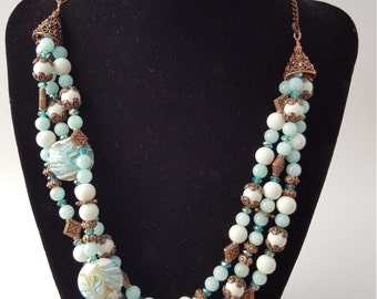 16005 Lamp Work, Agate, Czech Crystal and Antiqued Copper Necklace