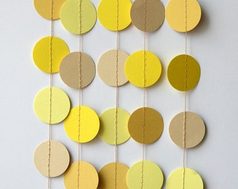 Paper garland, Yellow garland, Yellow circle garland, Ombre Yellow garland, Wedding decorations, Baby shower decor, KC-1043