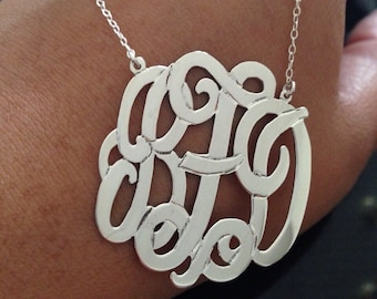 """2 Inch Sterling  Silver Monogram Necklace, 2"""" in Personalized Monogram 925 sterling silver"""