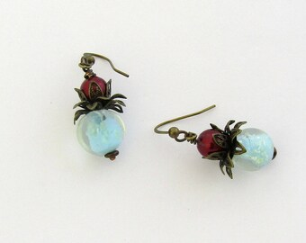 Aqua and Red Glass Beads with Flower Boho Style Dangle Earrings by Carol Wilson of Je t'adorn