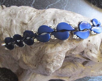 Royal Blue Lucite 1950's Lucite Bracelet With Floral and Rhinestone Accents Silver Tone Retro Jewelry Link