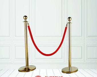 Gold Stanchions | Red or Black Velvet Rope | Gold Posts | Event Stanchions | Gold Stanchion with Ropes