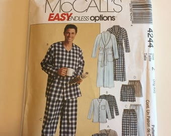 McCall's 4244 - Men's Robe, Pajama Tops and Bottoms Pattern - New and Uncut with Factory Folds - Size Xlg-XXl