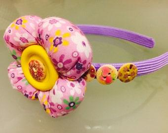 Floral headband, Bow Headband, Pink Headband, Girl Headband