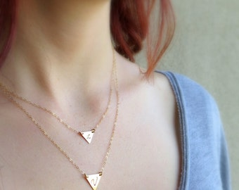 Geometric / Gold Triangle Necklace / Layering Necklace / Initial, Minimal, Dainty Gold Necklace / 14 K Gold Fill, Rose Gold, Sterling Silver