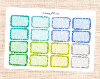 COOL Glitter Half Boxes (Matte planner stickers, fits perfect in Erin Condren Life Planner)