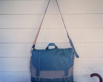 Custom lambskin and wool messenger bag