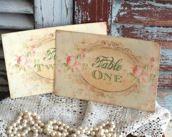 Vintage Romantic Faded Roses Wedding Table Number Cards Handmade by avintageobsession on etsy
