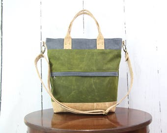 Tote bag, waxed canvas tote, large tote bag, cross body tote, waxed canvas purse, floral bag
