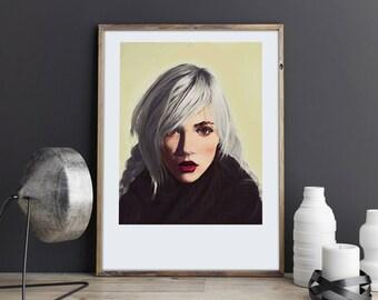 Ciri, The Witcher 3, Witcher Poster, Wild Hunt, Game Fan Art, Fan Art, INDIANA GIRL, Signed art print, IKEA frame, Art Gift,