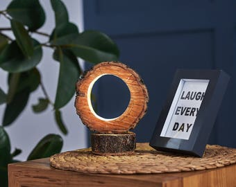 Wooden table lamp with LED strip   LED lamp, Lighting, Desk lamp, Home decor, Rustic decor, Bedside lamp, Desk accessories