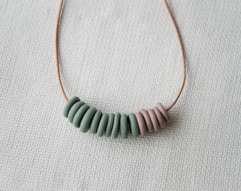 Sea Green & Taupe Clay Bead Necklace