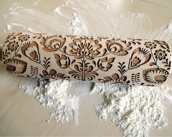 Folk Embossing Rolling Pin. FOLK pattern. Engraved rolling pin with flowers for embossed cookies or pasta. Useful in pottery