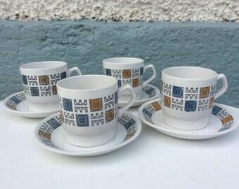 Biltons teacups and saucers x 4  1960s