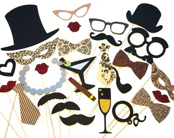 SALE -Vintage Photo Booth Props DELUXE Set - 27 piece set - Birthdays, Weddings, Parties - GLITTER Photobooth Props