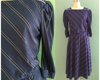 vintage 80's blue striped dress // secretary dress