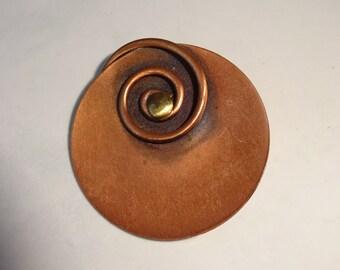 Vintage Copper Flower Brooch Pin Round Spiral
