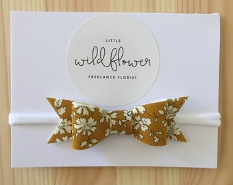 Mustard/White Floral Bow Band