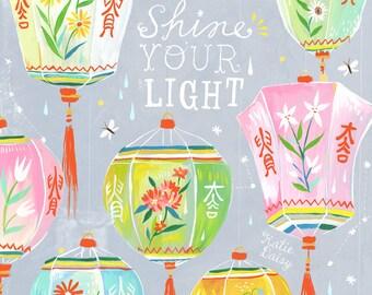 Shine Your Light Art Print | Chinese Lanterns | Katie Daisy Wall Art | 8x10 | 11x14