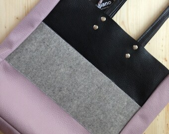 Premium Italian Leather !! Leather tote.Felt tote.Black leather tote.Grey felt tote.Leather tote bag.Violet leather tote.41