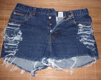 Vintage Calvin Klein Button Fly High Waist Distressed Cut Off Festival Shorts 29W