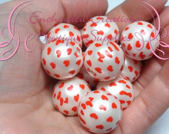 20mm Creamy White With Red Heart Print Beads, Heart Print Bubblegum Beads, Gumball Beads, Printed Beads, Chunky Beads, Large Jewelry Beads