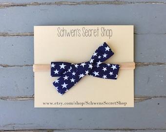 Patriotic baby bow, hand tied bow, baby girl headband, nylon headband, baby headband, school girl bow, baby hair bow, infant headband