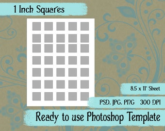 Scrapbook Digital Collage Photoshop Template, 1 Inch Squares