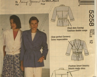 McCall's 5258 - Misses Jacket - Sewing Pattern - Jacket Sewing Pattern - New - Uncut - Size 12