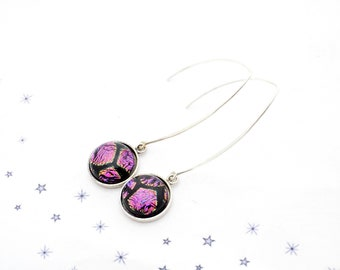 steel black purple Dichroic Glass cabochon hook earrings