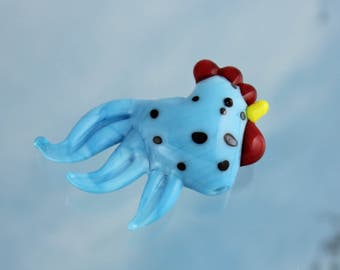 One Sky Blue Lampwork Glass Rooster Bead- Aqua blue chicken with black spots and a red comb- loose beads - DIY jewelry & crafts