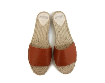 Espadrilles Sandals, Leather Slide Shoes, Open Toe Shoes, Flat Summer Shoes for Women. Handmade Greek Sandals, Gift for Her
