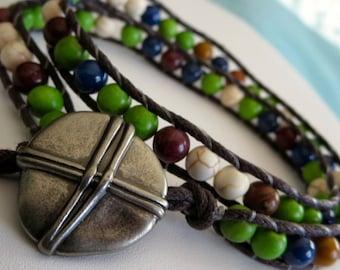 HADRIAN. double wrap bracelet. green. ivory. chocolate. indigo