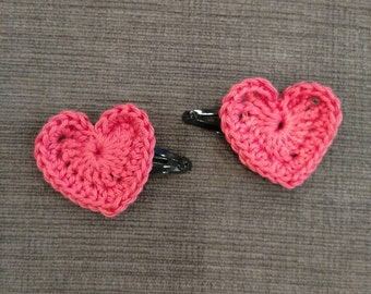 Crocheted Heart Barrettes