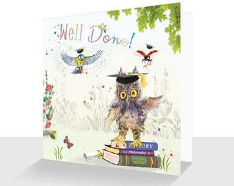Graduation Card  Well Done : Owl - Blank inside - Humorous Card