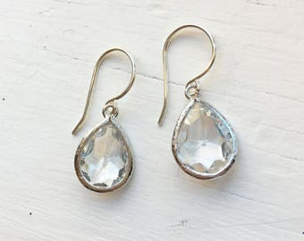 Crystal Clear Faceted Silver Earrings