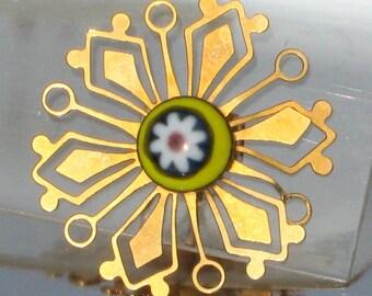 Earrings Vintage Venetian Glass Star Filigree Flower Power Mid Century Modernist Yellow White Red Blue Pierced That 70's Show Original Card