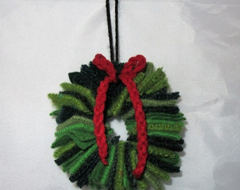 Felted Wool Wreath Ornament from assorted green sweaters FREE SHIPPING