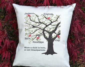 Grandparents Gift, tree pillow, hearts pillow, grandchildren Family Tree, Birds pillow, red heart pillow, Christmas gift, ruby anniversary.